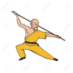 Shaolin monk practicing kung fu. Martial art. Vector illustration, isolated on white.